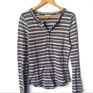 LUCKY BRAND BLACK IVORY THERMAL STRIPE TOP